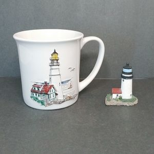 3-D Lighthouse Mug and Vtg Mini Lighthouse Figure